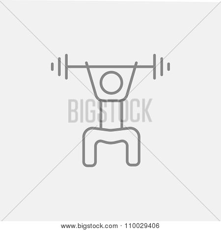 Man exercising with barbell line icon for web, mobile and infographics. Vector dark grey icon isolated on light grey background.