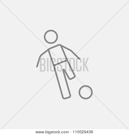 Soccer player with ball line icon for web, mobile and infographics. Vector dark grey icon isolated on light grey background.