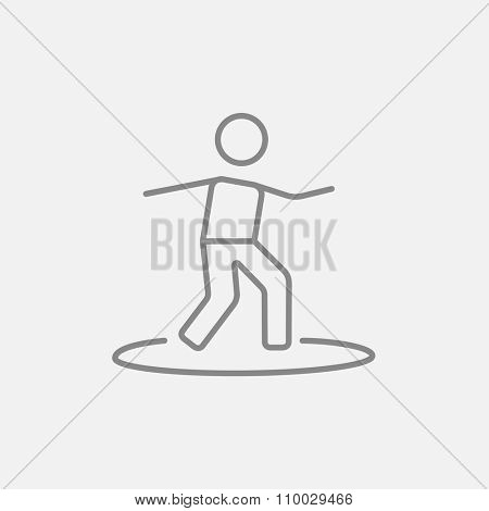 Male surfer riding on surfboard line icon for web, mobile and infographics. Vector dark grey icon isolated on light grey background.