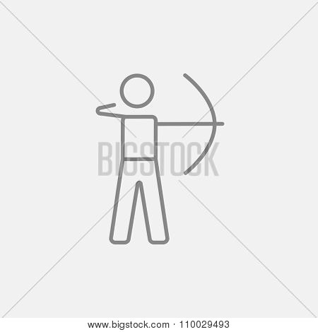 Archer training with the bow line icon for web, mobile and infographics. Vector dark grey icon isolated on light grey background.