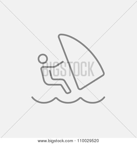 Wind surfing line icon for web, mobile and infographics. Vector dark grey icon isolated on light grey background.