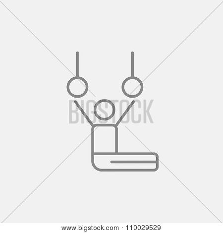 Gymnast performing on stationary rings line icon for web, mobile and infographics. Vector dark grey icon isolated on light grey background.