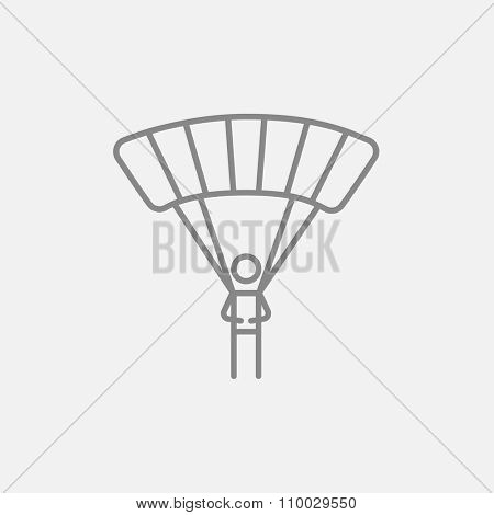 Skydiving line icon for web, mobile and infographics. Vector dark grey icon isolated on light grey background.
