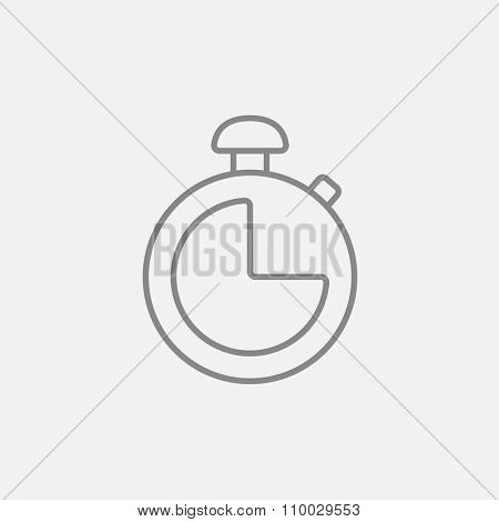 Stopwatch line icon for web, mobile and infographics. Vector dark grey icon isolated on light grey background.