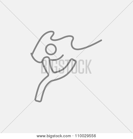 Gymnast with tape line icon for web, mobile and infographics. Vector dark grey icon isolated on light grey background.