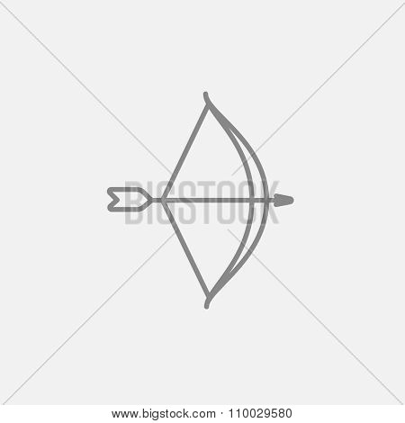 Bow and arrow line icon for web, mobile and infographics. Vector dark grey icon isolated on light grey background.