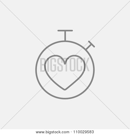 Stopwatch with heart sign line icon for web, mobile and infographics. Vector dark grey icon isolated on light grey background.