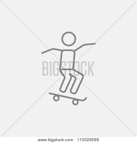 Man riding on a skateboard line icon for web, mobile and infographics. Vector dark grey icon isolated on light grey background.
