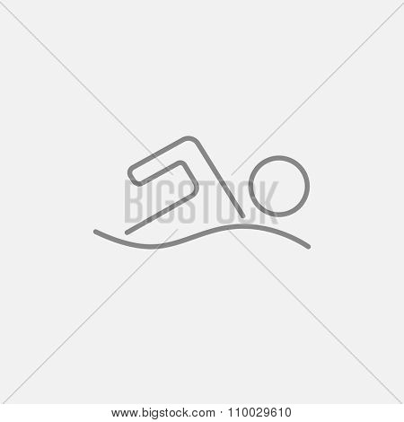 Swimmer line icon for web, mobile and infographics. Vector dark grey icon isolated on light grey background.