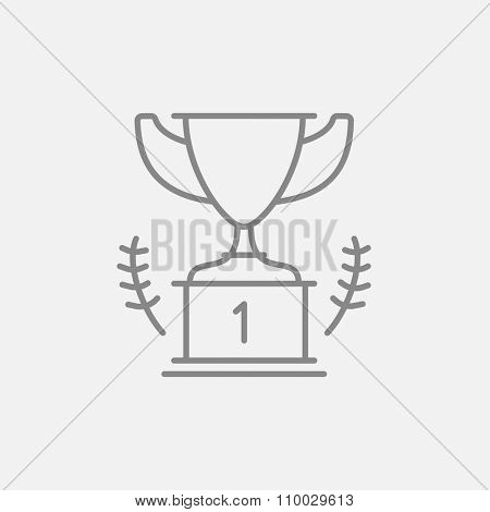 Trophy line icon for web, mobile and infographics. Vector dark grey icon isolated on light grey background.