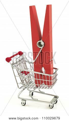 Business Concept With Clothes Peg In The Shopping Cart