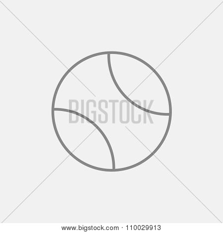 Tennis ball line icon for web, mobile and infographics. Vector dark grey icon isolated on light grey background.