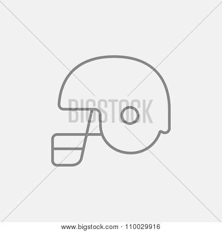 Hockey helmet line icon for web, mobile and infographics. Vector dark grey icon isolated on light grey background.