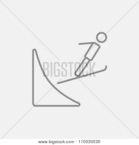 Ski jumping line icon for web, mobile and infographics. Vector dark grey icon isolated on light grey background.