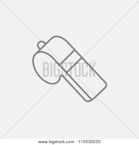 Whistle line icon for web, mobile and infographics. Vector dark grey icon isolated on light grey background.