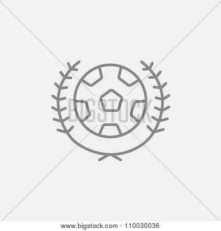 Soccer badge line icon for web, mobile and infographics. Vector dark grey icon isolated on light grey background.