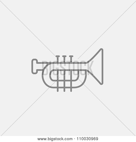 Trumpet line icon for web, mobile and infographics. Vector dark grey icon isolated on light grey background.