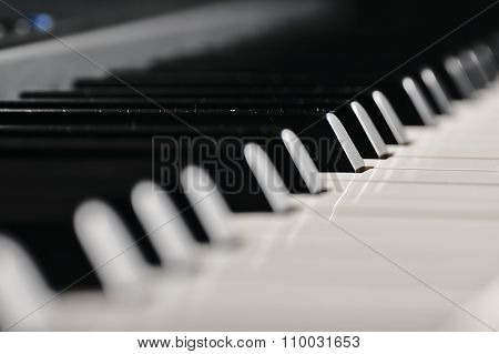 Piano Keys. Musical Instrument On Stage.