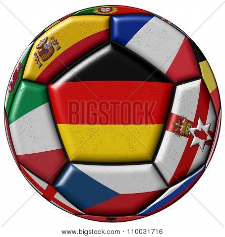 Soccer Ball With Flags Of Germany In The Center