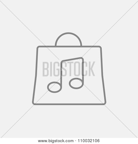 Bag with music note line icon for web, mobile and infographics. Vector dark grey icon isolated on light grey background.