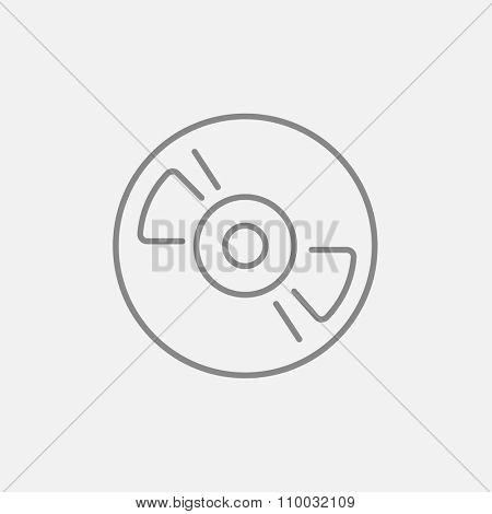 Reel tape deck player recorder line icon for web, mobile and infographics. Vector dark grey icon isolated on light grey background.
