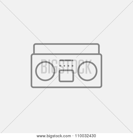 Radio cassette player line icon for web, mobile and infographics. Vector dark grey icon isolated on light grey background.