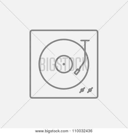 Turntable line icon for web, mobile and infographics. Vector dark grey icon isolated on light grey background.