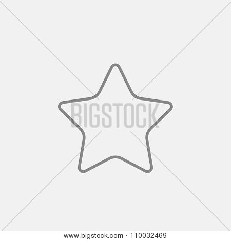 Rating star line icon for web, mobile and infographics. Vector dark grey icon isolated on light grey background.