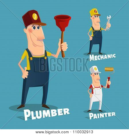 Hand Drawn Plumber,painter And Mechanic Characters