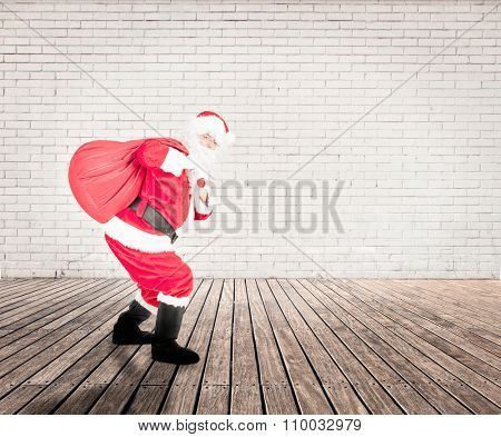 santa claus on a room with white bricks wall and wood floor