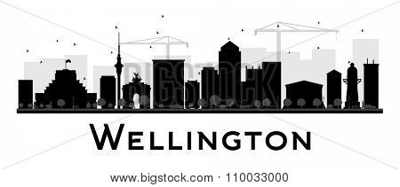 Wellington City skyline black and white silhouette. Vector illustration. Simple flat concept for tourism presentation, banner, placard or web site. Business travel concept. Cityscape with landmarks