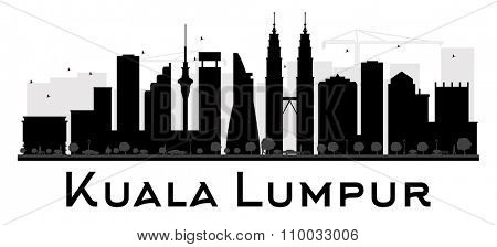 Kuala Lumpur City skyline black and white silhouette. Vector illustration. Simple flat concept for tourism presentation, banner, placard or web site. Business travel concept. Cityscape with landmarks