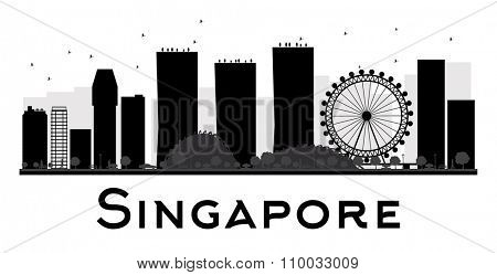 Singapore City skyline black and white silhouette. Vector illustration. Simple flat concept for tourism presentation, banner, placard or web site. Business travel concept. Cityscape with landmarks
