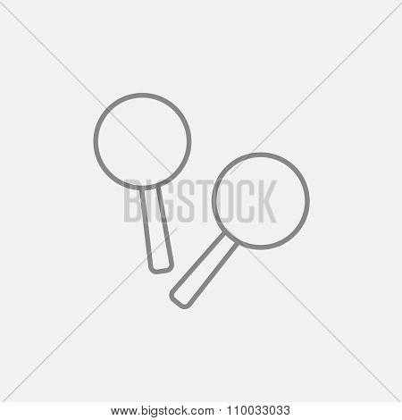 Maracas line icon for web, mobile and infographics. Vector dark grey icon isolated on light grey background.