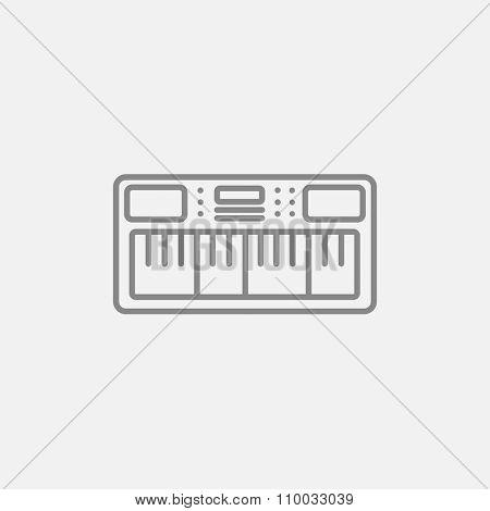 Synthesizer line icon for web, mobile and infographics. Vector dark grey icon isolated on light grey background.