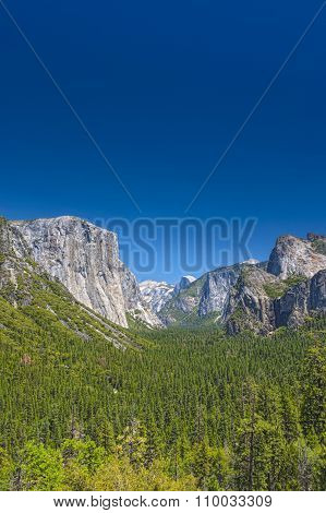Amazing Mountains Shot From High Poing In Yosemite National Park In California. Hdr Image.