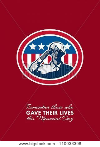 Memorial Day Greeting Card African American Soldier Salute Flag