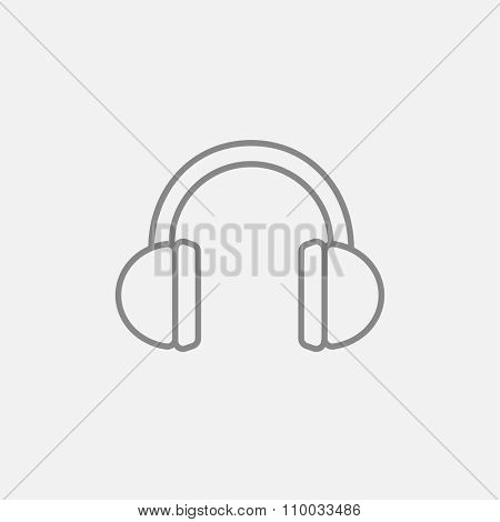 Headphone line icon for web, mobile and infographics. Vector dark grey icon isolated on light grey background.