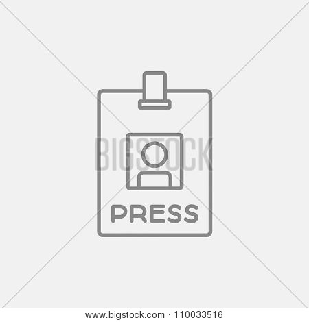 Press pass ID card line icon for web, mobile and infographics. Vector dark grey icon isolated on light grey background.