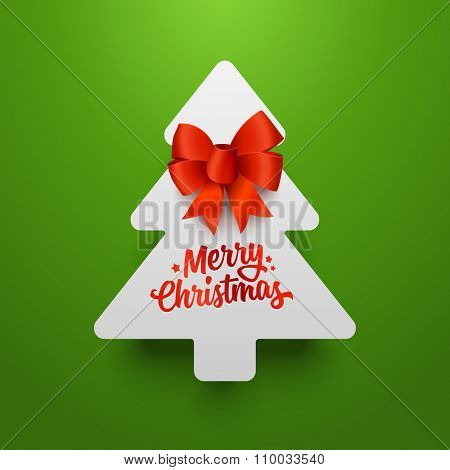 Christmas tree made of paper with red bow. Vector template.