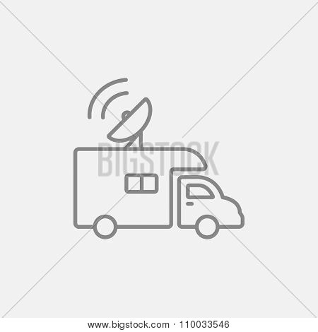 Broadcasting van line icon for web, mobile and infographics. Vector dark grey icon isolated on light grey background.