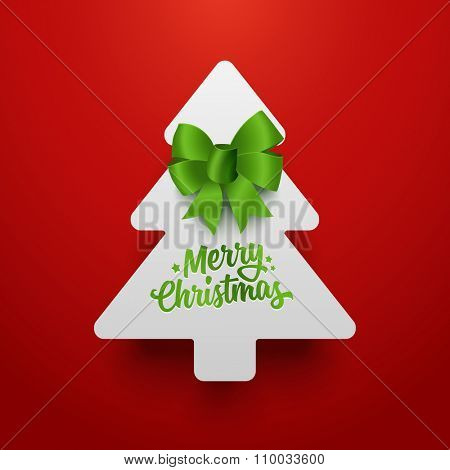 Christmas tree made of paper with green bow. Vector template.