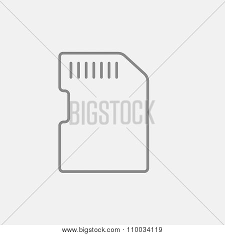 Memory card line icon for web, mobile and infographics. Vector dark grey icon isolated on light grey background.