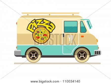 Minibus for pizza delivery fast food transport flat. vector illustration. Isolated on white background. Transparent objects used for lights and shadows drawing.