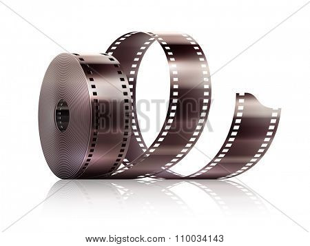 Cinematography movie video film tape isolated. vector illustration. Isolated on white transparent background. Transparent objects used for lights and shadows drawing.