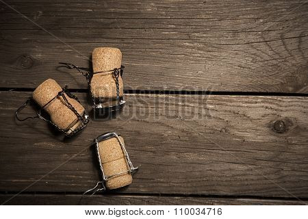 Craft Beer Or Wine Corks On Wood Background