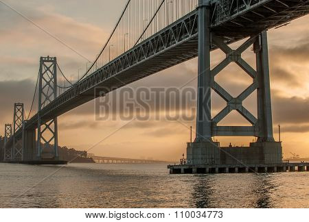 Oakland Bridge at dawn in San Francisco