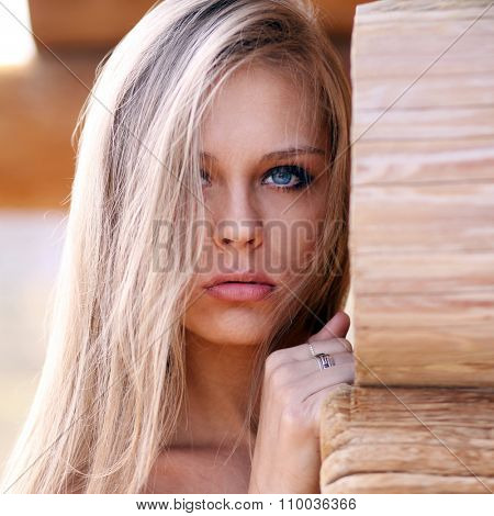 Close up Portrait of a young pretty blonde woman