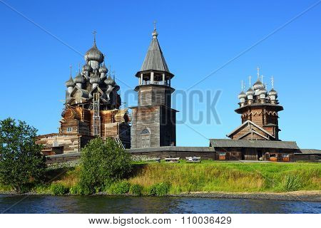 old russian wooden architecture on Kizhi island in Karelia