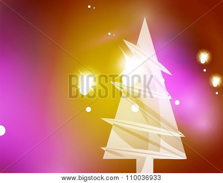Christmas yellow color abstract background with white transparent snowflakes. Holiday winter template, New Year layout